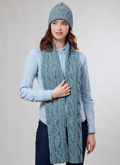 da5b53725a2ea7 Donegal Fleck Merino Wool Hat & Scarf Set Seagreen | Blarney