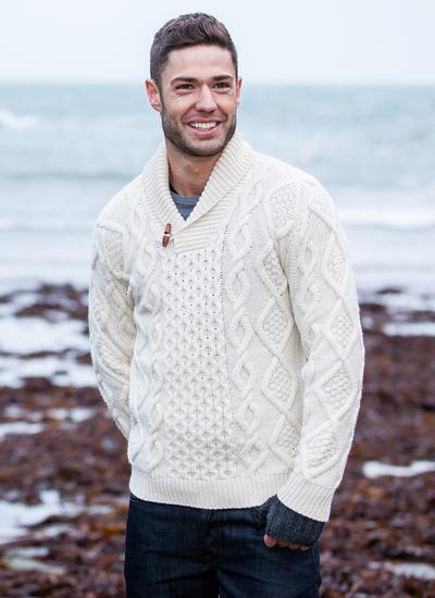 85538128b8 Aran Shawl Collar Sweater