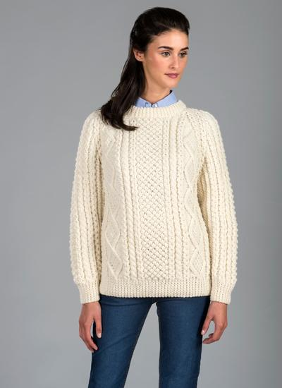 Hand Knitting Patterns For Ladies Cardigans : Hand Knit Aran Crew Sweater Blarney