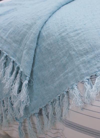 Light Blue Fringed Linen Throw Blarney