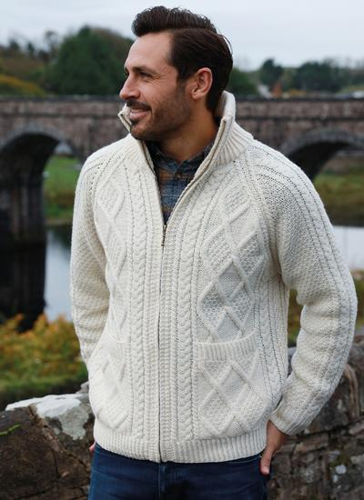 Mens Full Zip Aran Sweater Blarney
