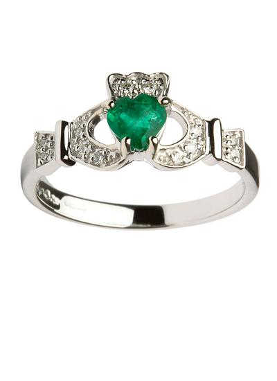 white gold and emerald claddagh ring blarney