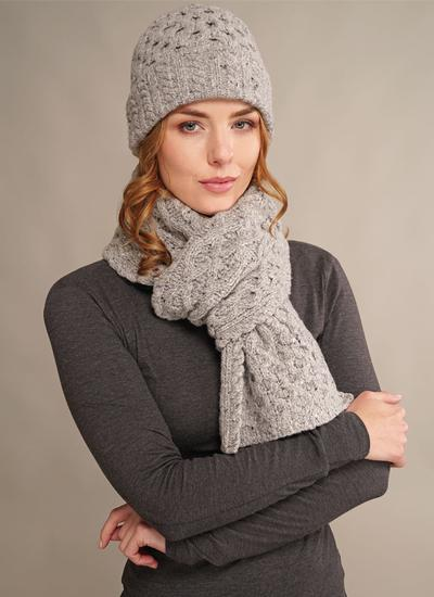 50c8936bcfd Wool Cashmere Cable Hat   Scarf Set Light Grey
