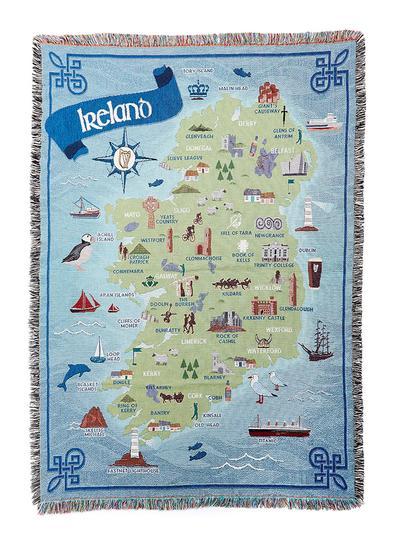 Blarney Ireland Map.Premium Cotton Map Of Ireland Throw Blarney