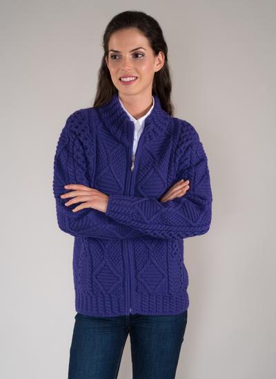 Megan Full Zip Aran Sweater Blarney