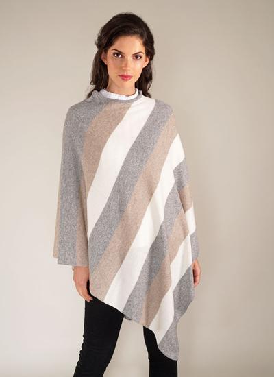 Stripe Pattern Poncho Blarney