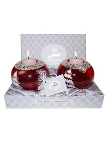 Avoca Blue Red Christmas Candle Holder Pair
