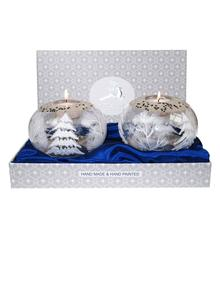 Avoca Blue White Christmas Candle Holder Pair
