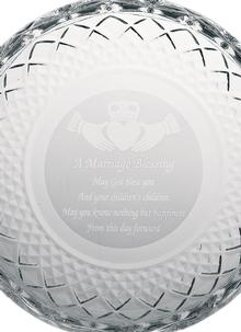 Claddagh Marriage Blessing Crystal Plate 8 Inch