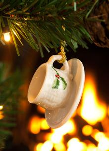 Holly Cup And Saucer Ornament