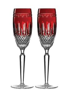 Waterford Crystal Clarendon Ruby Flute Pair