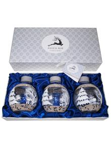 Avoca Blue Set of 3 White Christmas Candle Holders
