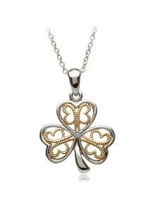 Sterling Silver Shamrock Pendant With Gold Accents