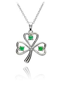 Green Stone Set Sterling Silver Shamrock Pendant