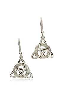 Sterling Silver Diamond Set Trinity Earrings