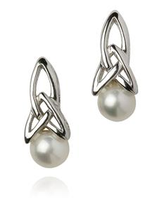 Sterling Silver Trinity Pearl Earrings