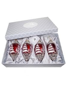 Avoca Blue Set of 4 Red Tear Drop Bauble Ornaments