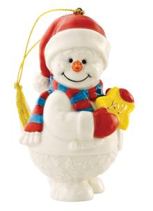 Belleek Snowman With Joy Ornament