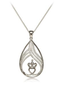 Large Claddagh Pendant with Cubic Zirconia