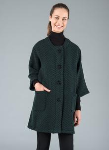 Herringbone Tunic Coat Green
