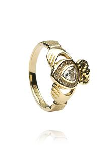 14K Gold Claddagh Diamond Band