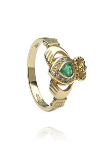 14K Gold Claddagh Diamond Emerald Band