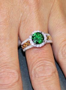Celtic Silver Green Stone Halo Ring
