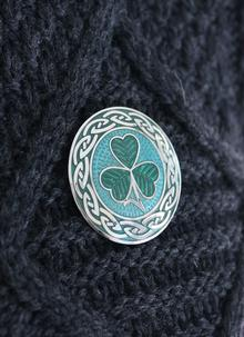 Celtic Shamrock Enamel Brooch