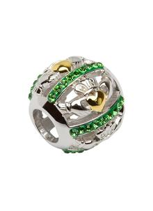 Claddagh Bead Embellished With Green Swarovski Crystals