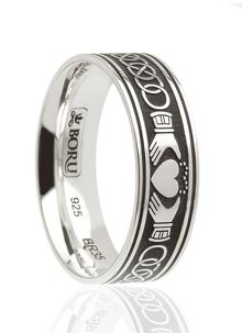 Men's Claddagh Celtic Knot Etched Ring