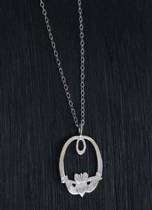 Contemporary Sterling Silver Claddagh Pendant