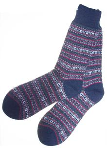 Set of Two Pairs - Men's Wool Blend Fair Isle Socks - Navy and Green