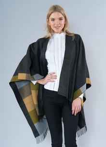 Glendalough Cape with Fringe - Grey & Moss
