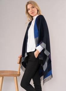 Glendalough Cape with Fringe - Purple, Blue & Grey
