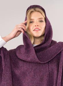 Jimmy Hourihan Classic Hooded Tweed Cape in Berry