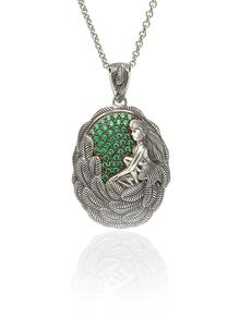 Danu Sterling Silver Pendant with Green Cubic Zirconia