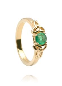 14K Gold Emerald Trinity Engagement Band