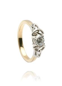 14K Gold Diamond Trinity Engagement Band