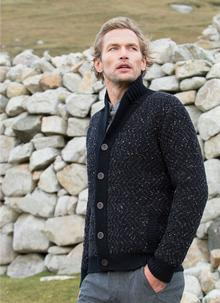 Fisherman Cardigan Chunky Shawl Collar Black