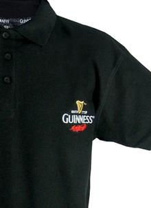 Embroidered Black Guinness Mens Polo T-Shirt