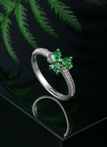 Green Cubic Zirconia Shamrock Ring