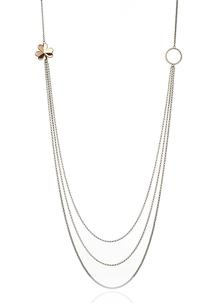 Three Strand Necklet With Gold Plated Shamrock & Rose Gold Circle