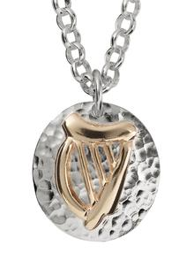 Sterling Silver And 9ct Gold Round Harp Pendant
