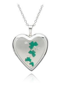 Sterling Silver Heart Shaped Shamrock Locket