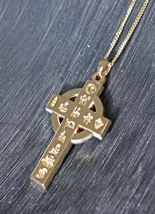 History Of Ireland Heavy Large Cross Pendant 14K Gold