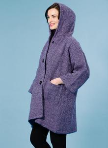 Hooded Tunic Coat Violet Boucle