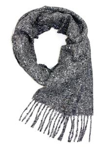 Donegal Grey Tweed Scarf With Cashmere