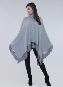 Cowl Neck Tassel Cape Grey