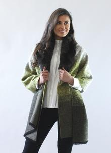 Fur Collar Shawl Khaki