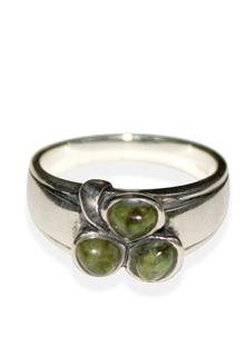 Connemara Marble Shamrock Band Ring